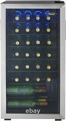 Free Standing Wine Cooler, Holds 36 Bottles, Single Zone Fridge With Glass Door
