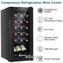 Freestanding Compact Wine Cooler Fridge 18 Bottle Capacity Digital Glass Door