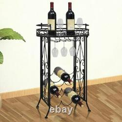 Freestanding Wine Rack 9 Bottles with Glass Holder Wine Home Pub Storage Stand