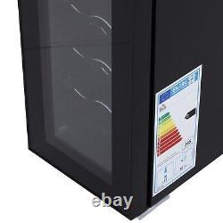 HOMCOM 12-Bottle Tempered Glass Mini Bar Cooler with LED Light Black