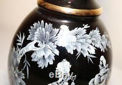 HUGE vintage black amethyst enameled Mary Gregory glass liquor decanter bottle