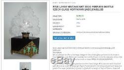 Heinrich Hoffmann Jet Black Crystal Brass Jadeite 3 Perfume Bottle & Stopper