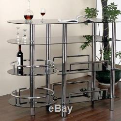 Home Bar Serving Table Glass Modern Wine Bottle Liquor Storage Shelf Furniture
