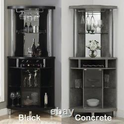 Home Bar with Wine Storage Wood Pub Cabinet Liquor Bottles Glass Display Holder