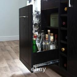 Home Furniture Bar Cabinet with Bottle and Glass Storage, Black Oak