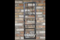 Industrial Metal Wall Furniture Wine Glass Bottle Drinks Storage Shelf Unit Rack