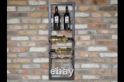Industrial Metal Wine Bottle and Glasses Storage Shelf Unit