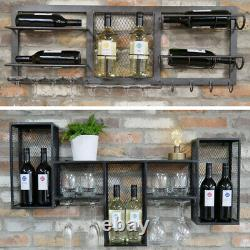 Industrial Metal Wine Wall Cabinet Distressed Style Storage Bottle Glass Unit