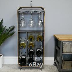 Industrial Retro Metal Wine Cabinet Rustic Black Gold Wine Glass Bottle Gin Unit