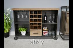 Industrial Style Wine Cabinet / Trolley 15 Bottle + Glass Storage Cart Wheels