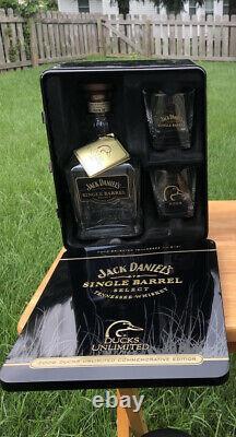 Jack Daniels 2009 Ducks Unlimited Tin Glasses And Bottle