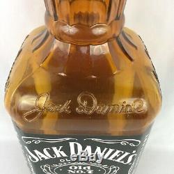 Jack Daniels Tennessee Whiskey Bottle Bar Display Amber Glass Black Label Large