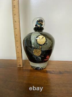 Jean-Claude Novaro Hand Blown Black Metallic Art Glass Sculpture Bottle