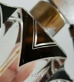 Karl Palda Art Deco Clear Cut Glass Black Enamel Perfume Bottle with Atomizer