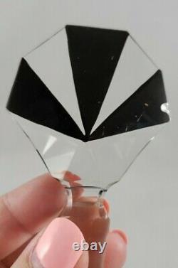 Karl Palda Art Deco Clear Cut Glass Black Enamel Perfume Bottle with Stopper