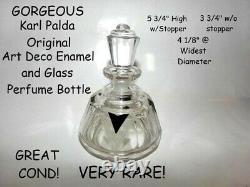 Karl Palda, Art Deco Czech Black Enamel & Etched Lg Perfume Bottle c1930's RARE