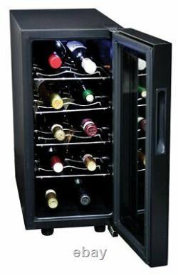Koolatron WC20 Mirrored Glass Door Wine Cellar 20 Bottle Black