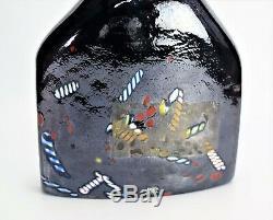 Kosta Boda Glass Satellite Bottle Bertil Vallien Vase Signed 13 Tall