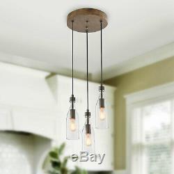 LNC Wooden Pendant Lights, 3-Height Adjustable Bottle Glass Pendant Lighting