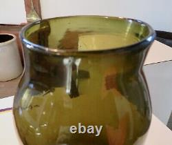 Large, Antique Black Glass French Food Storage Jar with Pontil in Good Condtion
