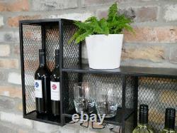 Large Size Industrial Metal Wine Rack Wall Storage Cabinet Bottle Glass Shelf