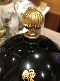Large Vintage French Lanvin Gilded Black Glass Dummy Perfume Bottle 6 1/2 Tall