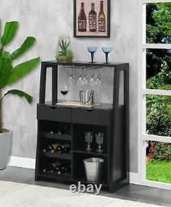 Liquor Cabinet Wine Tower Home Bar Stand Bottle Glass Rack Holder Storage Drawer