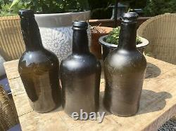 Lot of 3 UK Squat Cylinders, Black Glass, Pontil. Appl'd Lips. 18-19thC Antiques