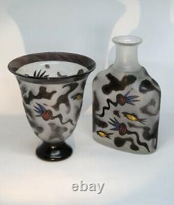MINT ULRICA HYDMAN VALLIEN KOSTA BODA Vase Bottle Black Magic Glass