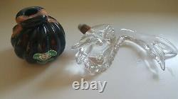 MURANO Art Glass Clear Bass Fish Black Amethyst Luxardo EMPTY Bottle Decanter