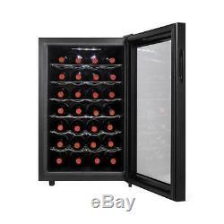 Magic Chef Wine Cooler 28 Bottle Shelves Thermostat LED Digital Door Glass Black