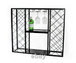 Mango Steam Wine Rack Console with Glass Table Top (34 Bottle, Black)