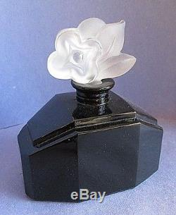Marcel Franck Art Deco Black Glass Perfume Bottle CVR Paris Flower Rare Marked