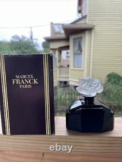 Marcel Franck Deco Black Glass Perfume Bottle Paris Flower Large Size W BOX
