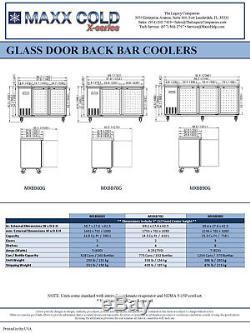 Maxx Cold 90.4 Commercial 3 Glass Door Back Bar Beer Bottle Refrigerator Cooler