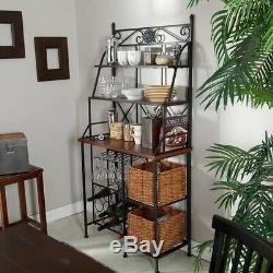 Metal Bakers Rack Kitchen Wine Glasses Bottles Shelf Baskets Storage Dining Room