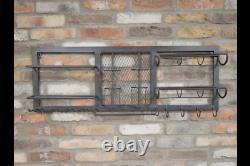 Metal Industrial Wall Furniture Wine Glass Bottle Drinks Storage Shelf Unit Rack