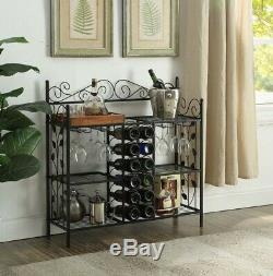Metal Wine Rack Floor Furniture Table Glass Free Standing Bottle Holder Storage