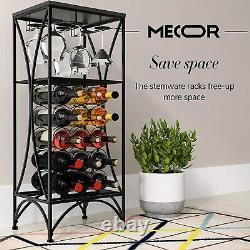 Metal Wine Rack Ftreestanding Wine Display 15 Bottle 3 Glass Holder Black