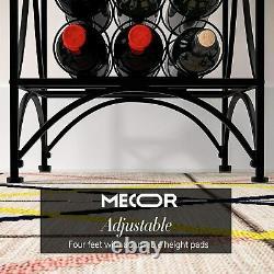 Metal Wine Rack Wine Storage Shelves 15 Bottle Stable Glass Holder Display Black