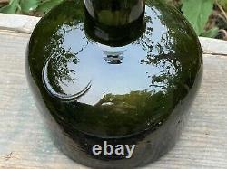 Mid1800 Black Glass darkblown Pontil APP Lip Blob Antique Onion Mallet Bottle