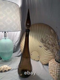 Mid-Century Modern Empoli Smoke Glass Genie Bottle Decanter 22 Vintage Italian