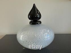 Mid-Century Modern Italian Murano Black & White Flecks Art Glass Perfume Bottle
