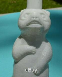Milk Glass Figural Smirnoff Bear Bottle C. 1900