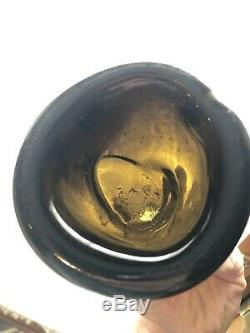 Mint Antique Black Glass Wine Spirit Bottle With Jagged, Sloppy Pontil