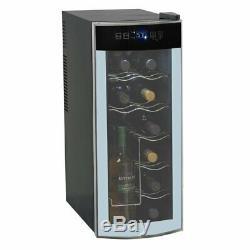 Modern Black Lightweight Glass Door 12 Bottle Freestanding Wine Refrigerator
