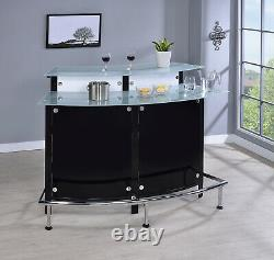 Modern Contemporary Front Bar Table Glass Top Bottle Storage & Stemware Rack
