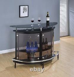 Modern Crescent Front Bar Table Glass Top Bottle Storage & Stemware Rack, Black