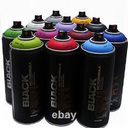 Montana BLACK 400ml Popular Colors Set of 12 Graffiti Street Art Mural Spray