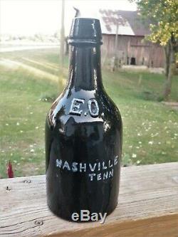 NASHVILLE TENNESSEE. X-Rare, BLACK GLASS ALE. E. OTTENVILLE, Early Quart Ale